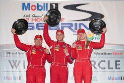 GTD podium: winners Christina Nielsen, Alessandro Balzan, Jeff Segal, Scuderia Corsa