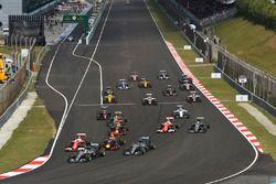 Sebastian Vettel, Ferrari SF16-H, Kimi Raikkonen, Ferrari SF16-H au départ