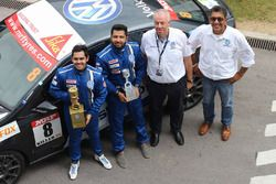 Ishaan Dodhiwala and Karminder Singh with Sirish Vissa, head of Volkswagen Motorsport India