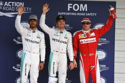 Top tres clasificados en parc ferme: segundopuesto Lewis Hamilton, Mercedes AMG F1; Ganador de la po