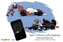 Cartoon van Cirebox - Apple en McLaren