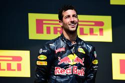 Daniel Ricciardo, Red Bull Racing celebra su tercer puesto en el podio
