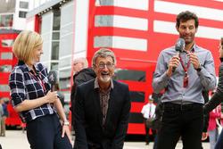 (L to R): Susie Wolff, Channel 4 Expert Analyst with Eddie Jordan, and Mark Webber, Porsche Team WEC