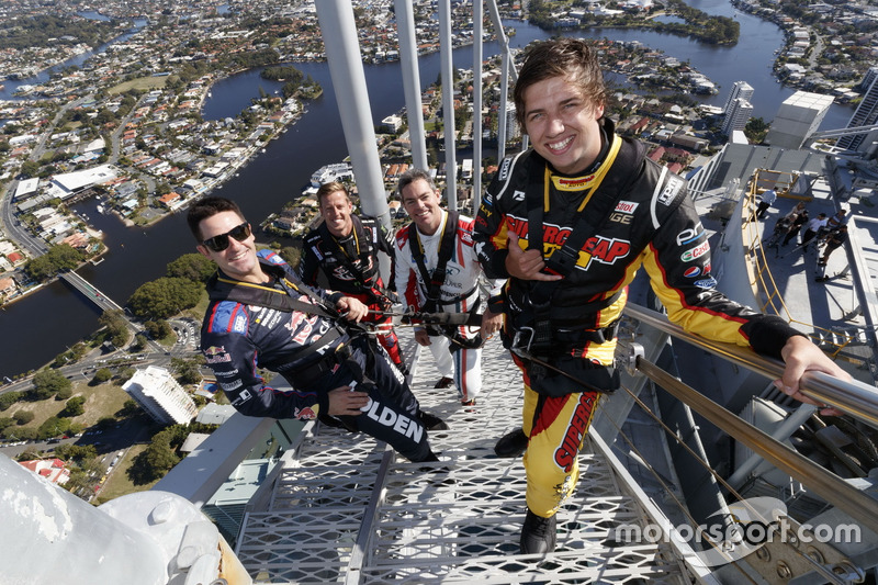 6. Chaz Mostert, Craig Lowndes, Jamie Whincup and James Courtney at the top of the spectacular Q1 Tower in Surfers Paradise