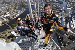 Chaz Mostert, Craig Lowndes, Jamie Whincup and James Courtney at the top of the spectacular Q1 Tower
