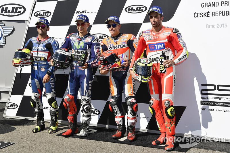 Il poleman Marc Marquez, Repsol Honda Team, il secondo qualificato Jorge Lorenzo, Yamaha Factory Racing, il terzo qualificato Andrea Iannone, Ducati Team