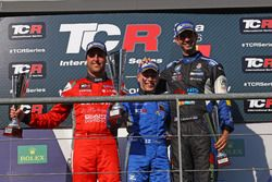 Podium: second place Pepe Oriola, Team Craft-Bamboo, SEAT León TCR; Winner Aku Pellinen, West Coast Racing, Honda Civic TCR; Third place Dusan Borkovic, B3 Racing Team Hungary, SEAT León TCR