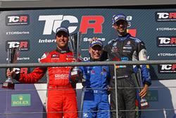 Podium: second place Pepe Oriola, Team Craft-Bamboo, SEAT León TCR; Winner Aku Pellinen, West Coast Racing, Honda Civic TCR; Third place Dusan Borkovic, B3 Racing Team Hungary, SEAT León TCR
