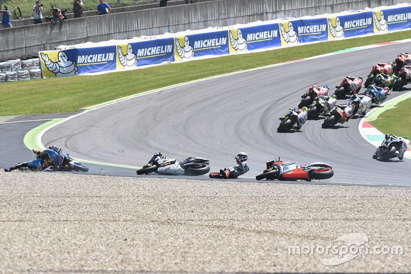 Sturz: Jack Miller, Marc VDS Racing Honda, Alvaro Bautista, Aprilia Racing Team Gresini, und Loris Baz, Avintia Racing