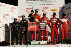 Podio Gara 1 GT3: al secondo posto Zonzini-Russo, Audi Sport Italia, i vincitori Casè-Bontempelli, Scuderia Baldini 27 Network, al terzo posto Leo-Cheever, Scuderia Baldini 27 Network