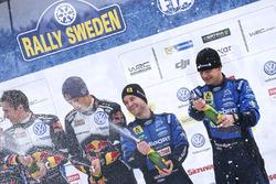 Podium: derde Mads Ostberg, Ola Floene, M-Sport Ford