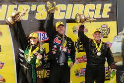Top Fuel winner Leah Pritchett, Pro Stock winner Jason Line, Funny Car winner Tim Wilkerson
