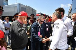 Herbert Kickl, Austrian Interior Minister with Niki Lauda, Mercedes AMG F1 Non-Executive Chairman and Toto Wolff, Mercedes AMG F1 Director of Motorsport