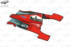 Le capot moteur et les pontons de la Ferrari F300