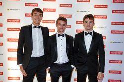 George Russell, GP3 şampiyonu, Lando Norris, McLaren test pilotu ve Charles Leclerc, F2 şampiyonu
