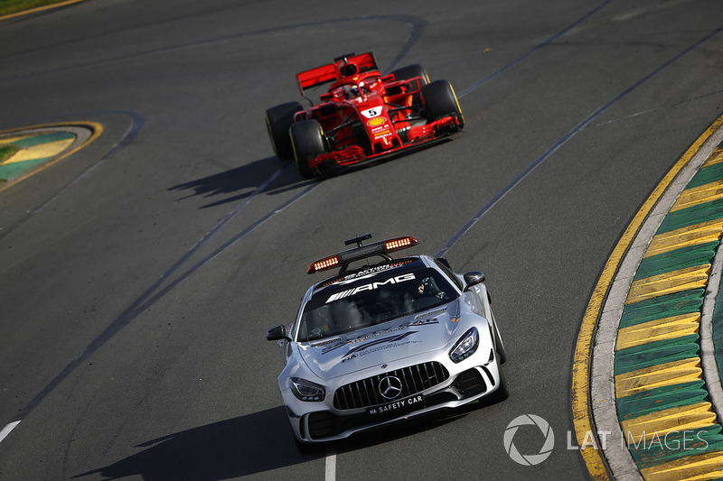 The Safety Car leads Sebastian Vettel, Ferrari SF71H