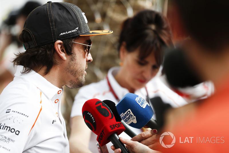Fernando Alonso, McLaren, talks to the press