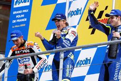 Race winner Sete Gibernau, second place Valentino Rossi, third place Alex Barros