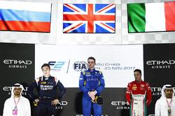 Podium: Race winner Oliver Rowland, DAMS, Second place Artem Markelov, RUSSIAN TIME, and Third place Antonio Fuoco, PREMA Powerteam