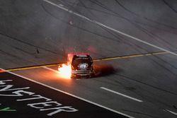 Jennifer Jo Cobb, Jennifer Jo Cobb Racing, Think Realty Chevrolet Silverado catches fire after crashing