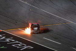Jennifer Jo Cobb, Jennifer Jo Cobb Racing, Think Realty Chevrolet Silverado catches fire after crashing