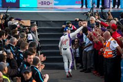 Sam Bird, DS Virgin Racing, celebrates at the podum