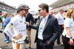 Fernando Alonso, McLaren, with multiple NASCAR champion Jeff Gordon