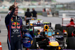 Sebastian Vettel, Red Bull Racing, celebrates pole in Parc Ferme