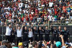 The Mercedes team celebrate a podium finish for Valtteri Bottas, Mercedes AMG F1