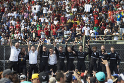 The Mercedes team celebrate a podium finish for Valtteri Bottas, Mercedes AMG F1