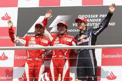 Podium: first place Fernando Alonso, Ferrari, second place Felipe Massa, third place Sebastian Vettel, Red Bull Racing
