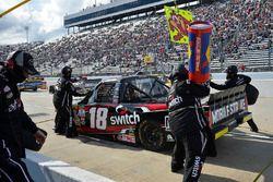 Noah Gragson, Kyle Busch Motorsports Toyota, makes a pit stop