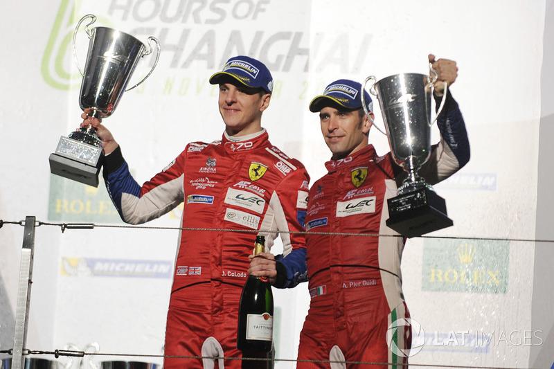 Podio GT Pro: al terzo posto James Calado, Alessandro Pier Guidi, AF Corse