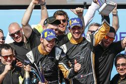 Jean-Eric Vergne, Techeetah, Andre Lotterer, Techeetah celebrate on the podium with their team
