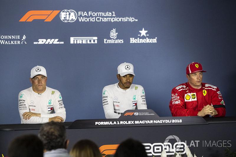 Valtteri Bottas, Mercedes-AMG F1 W09, Lewis Hamilton, Mercedes-AMG F1 i Kimi Raikkonen, Ferrari podczas konferencji prasowej