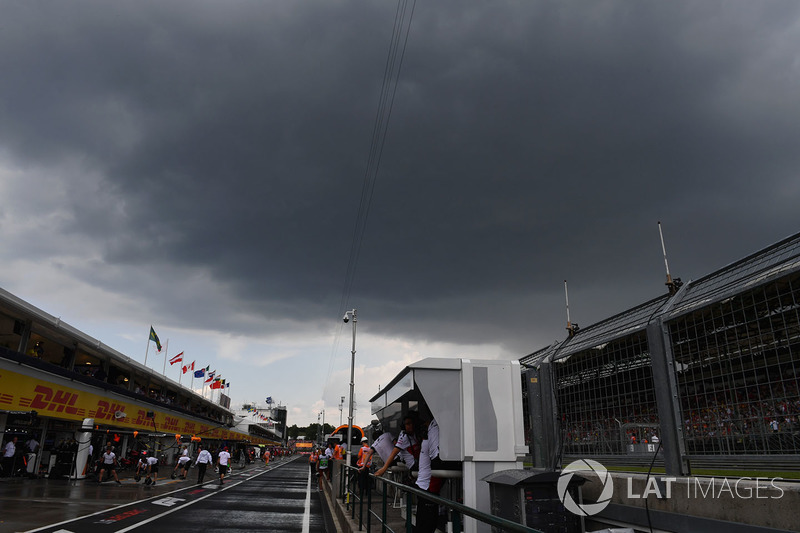 Dark clouds over pit lane