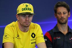 Nico Hulkenberg, Renault Sport F1 Team and Romain Grosjean, Haas F1 in the Press Conference