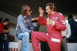 Austrian singer and songwriter Udo Jurgens with Niki Lauda, Ferrari