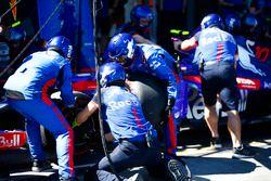 El equipo de mecánicos de Toro Rosso cambia neumáticos en el auto de Pierre Gasly, Toro Rosso STR13 Honda