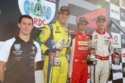 Race 3 podium: Alex Sims, Gaetano di Mauro, PetroBall Racing, Arjun Maini, Lanan Racing, and Struan Moore, Lanan Racing