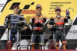 Podium: winnaar Casey Stoner, Repsol Honda Team, tweede Jorge Lorenzo, Yamaha Factory Racing, derde