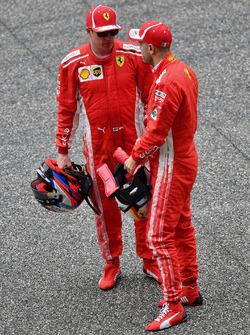 Sebastian Vettel, Ferrari and Kimi Raikkonen, Ferrari celebrate in parc ferme