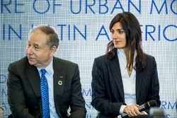 Jean Todt, FIA President, Virginia Elena Raggi, Mayor of Rome in the FIA Smart Cities conference