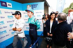 Nelson Piquet Jr., Jaguar Racing, Oliver Turvey, NIO Formula E Team. Virginia Elena Raggi, Sindaca di Roma, Jean Todt, Presidente FIA, nel media pen