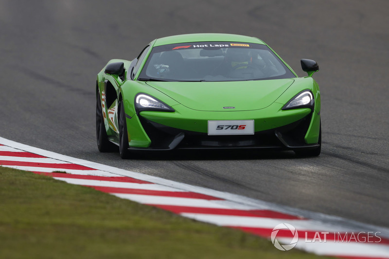 A McLaren 570S is driven in Pirelli Hot Laps
