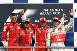 Podium: Chris Dyer, Ferrari race engineer, second placed Felipe Massa, Ferrari, race winner Kimi Raikkonen, Ferrari, and third placed Fernando Alonso, McLaren