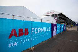 ABB FIA Formula E Championship logos in the paddock