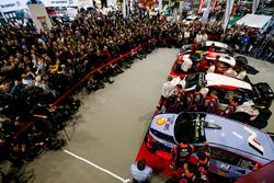 The 2018 WRC season is launched at the Autosport International Show. Works rally cars from Hyundai,