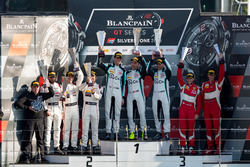 Podium Pro-AM: Winner #49 Ram Racing Mercedes-AMG GT3: Salih Yoluc, Euan Hankey, Darren Burke, second place #42 Strakka Racing Mercedes-AMG GT3: Nick Leventis, Chris Buncombe, Lewis Williamson, third place #51 AF Corse Ferrari 488 GT3: Duncan Cameron, Matt Griffin
