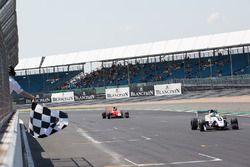 Chequered flag, Logan Sargeant, R-Ace GP,Yifei Ye, Josef Kaufmann Racing